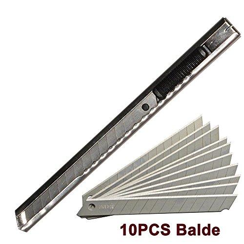Ehdis® in acciaio inox Art coltello retrattile pieghevole Utility taglierino coltello raschietto con 10PCS di 9mm con tagliente lama