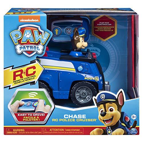 Paw Patrol 6054190 - Ferngesteuertes RC Fahrzeug Chase, Polizei Cruiser blau, mit Figur