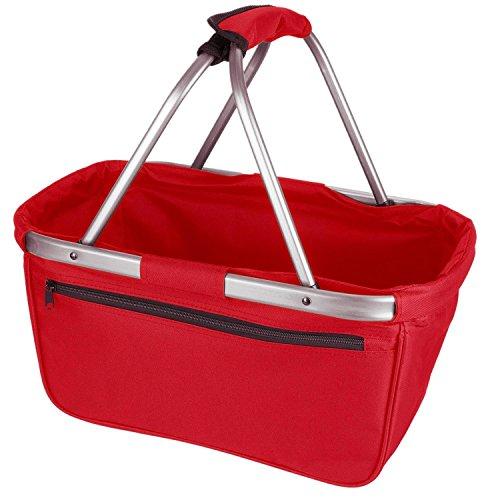 noorsk Einkaufskorb faltbar aus Stoff toll als Faltkorb Einkaufstasche oder Picknickkorb - Rot