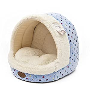 Tofern-Colorful-Dots-Patterns-Striped-Cute-Pet-Fleece-Bed-Puppy-Small-Medium-Dog-Cat-Sleeping-Igloo-House-Non-Slip-Warm-Washable