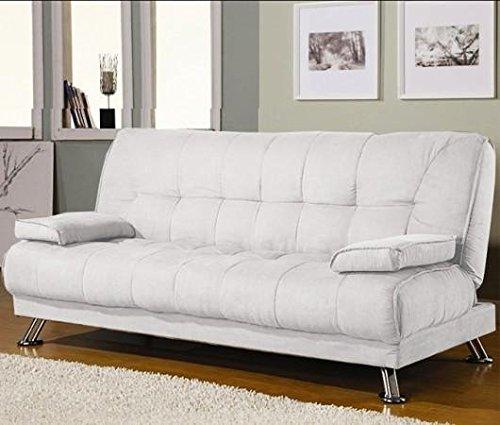 Divano letto sofa 187x88 bianco ecopelle braccioli for Divano letto 2 posti piccolo