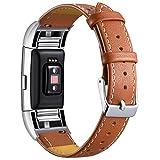 Mornex Dernière bande de cuir pour Fitbit Charge 2, bracelet en cuir véritable à pois avec des connecteurs en métal, sangle de remise en forme pour hommes femmes,marron