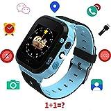 Kids GPS Reloj Inteligente, 1,44 Pulgadas Touch Anti-perdido Reloj Inteligente para niños Niños Chicas con cámara SIM Llamadas SOS Smart Watch Pulsera (Azul)