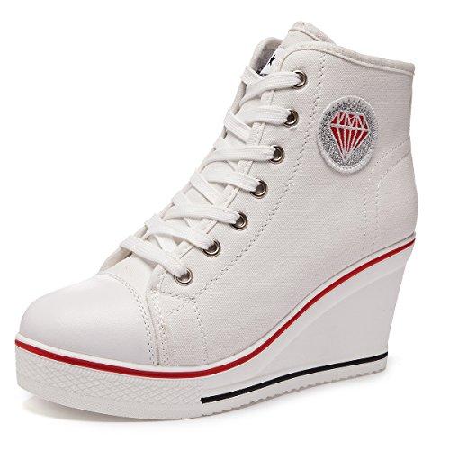Kivors sneaker donna zeppa alte donna scarpe tela in alte zeppa interna zip 9 cm allacciate donna ginnastica sport tela lacci in canvas scarpe da moda sneaker