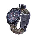 LIOOBO Multifunktionale Outdoor Survival Camping Sicherheit Ausrüstung Werkzeuge Rettungsseil Armband Sicherheit Regenschirm Seil Uhr (Sldiercam)