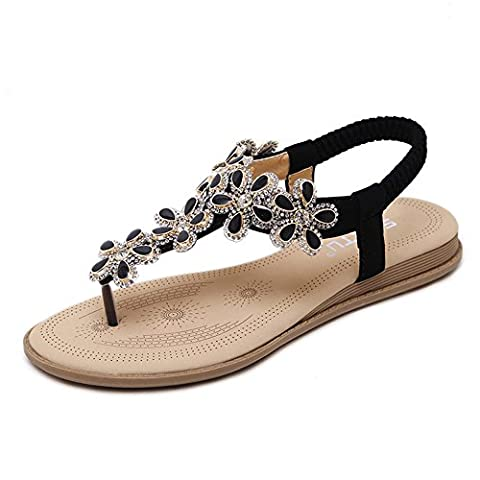 Minetom Women Boho Rhinestone Thong Clip Toe Ankle Strap Sandals Sweet Beach Beaded Flower Flats Flip Flop Shoes Black UK