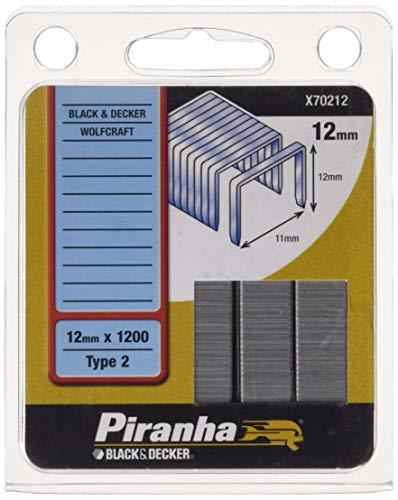 Piranha HSS-CNC 12 mm Klammern für Heftpistole Metall schwarzes Deck & kx418e, 12mm x 1200, Typ 2