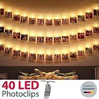 B.K.Licht I 5 Meter LED Fotolichterkette I 40 LED Photoclips I LED Lichterkette für Fotos I Foto-Clips I Transparent I Batterie betrieben I Polaroid