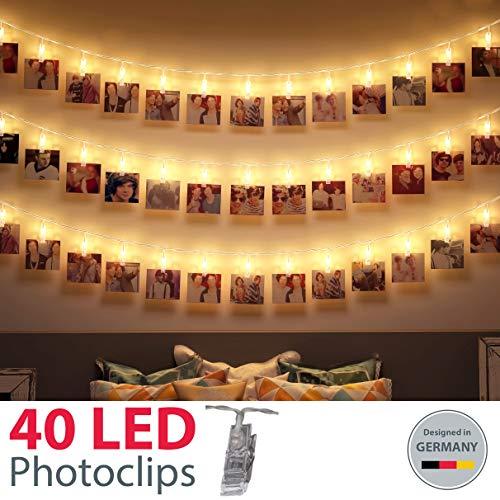 B.K.Licht LED Fotolichterkette I 40 LED Photoclips I Adventskalender Weihnachten I Foto Lichterkette | Batterie betrieben -