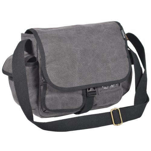 Everest Luggage canvas messenger bag, Charcoal (grigio) - CT073S-CCA Charcoal