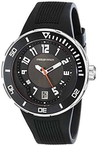 Philip Stein–34-BB-RB Men's Watch–Analogue Quartz–Black Dial–Black Silicone Strap