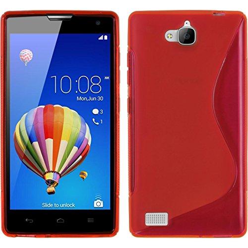 PhoneNatic Case kompatibel mit Huawei Honor 3C - rot Silikon Hülle S-Style + 2 Schutzfolien