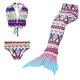 Maillots de bain loisirs sirène maillot de bain deux pièces Bikini 3pcs définit baignade spa Jeunes filles Cosplay Halter cou (violet, 140)