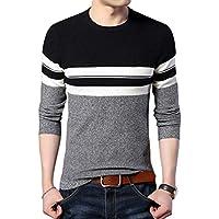 Byqny Hombre Suéter de Punto Raya Sweater Manga Larga Camisa Inferior de Cuello Redondo