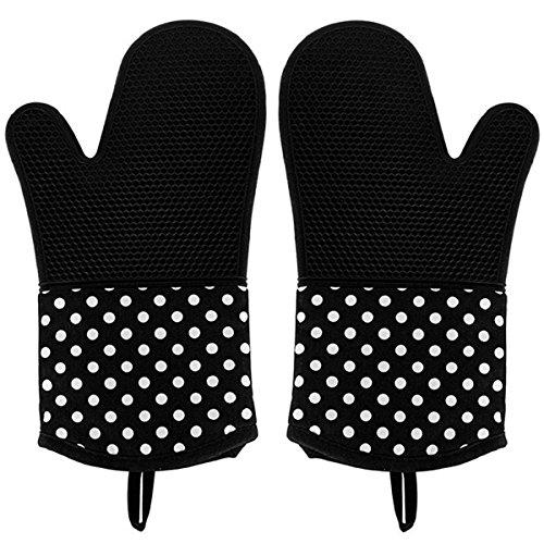 Aidle Guanti di pattini Guanti da forno termici resistenti al calore, silicone + cotone, guanti da grill 2x pacco, guanti da guanti