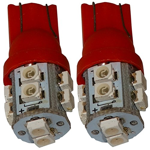 Preisvergleich Produktbild Aerzetix - 2 X LED - Birne T10 W5W 12V 10LED SMD Rot Innenbeleuchtung Kontrollleuchten Deckenschwellen Füßen Tresortür Kartenleser Motorraum