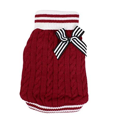 Sourcingmap Schleife Accent Twisted Strickwaren Rollkragen Pet Apparel Sweater, X-Small, Rot - Accent Sweater