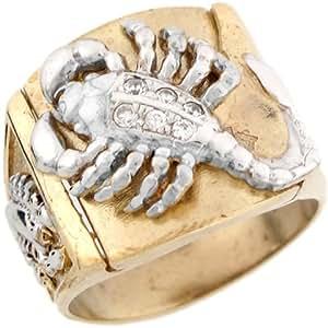 14ct or massif deux tons bague homme scorpion zirconia blanc bijoux. Black Bedroom Furniture Sets. Home Design Ideas