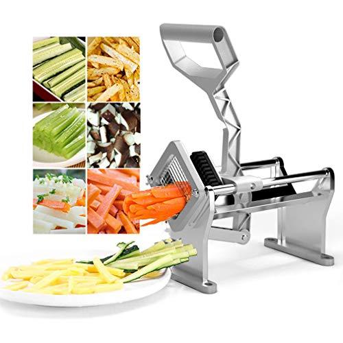 Pommes Frites Cutter Heavy Duty Edelstahl Gemüse Obst Kartoffelscheibe mit 4 verschiedenen Stahlklingen (Und Obst Cutter Pommes)
