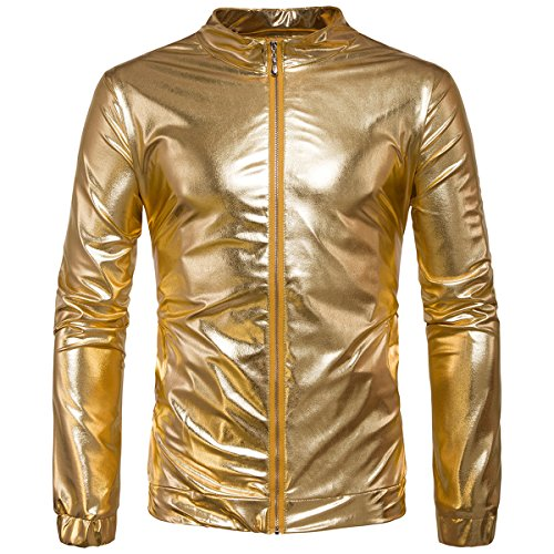 Kostüm Männer Disco - AOWOFS Herren Jacke Regular Fit Metallic Glänzend Blouson Kostüm für Nightclub Party Tanzen Disco Halloween Cosplay