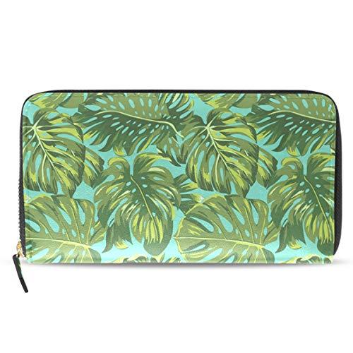Emoya Damen Clutch Lange Brieftasche Tropische grüne Blätter Lady Portemonnaie Kreditkarten-Halter Handtasche -
