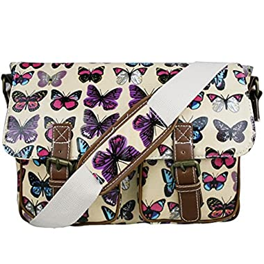 Stylla London Oilcloth Owl/Butterfly/Dog/Skull/Polka dots Designer Satchel Cross body Messenger Bag