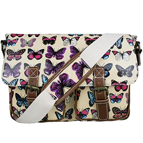 - 51z0j1w2OAL - Stylla London Oilcloth Owl/Butterfly/Dog/Skull/Polka dots Designer Satchel Cross body Messenger Bag
