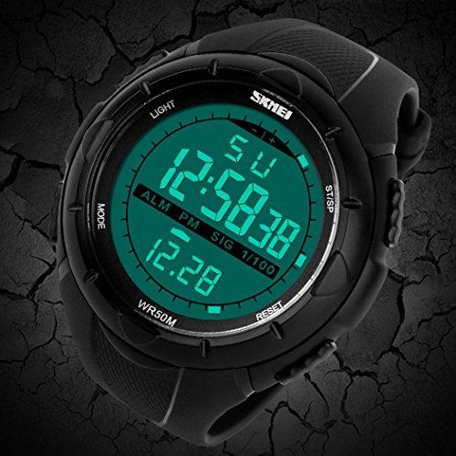 TOPCABIN 50M Waterproof Digital Students Sports Watch Boy Girl LED Alarm Wristwatch Black