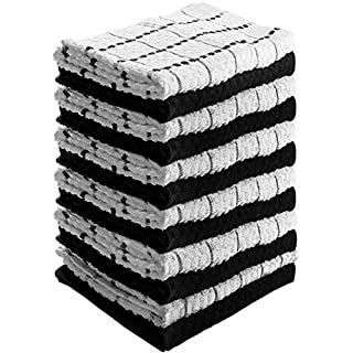 Utopia Towels Kitchen Towels (12 Pack, 38 x 64 Centimeters) Pure Cotton Machine Washable 6 Black and 6 White Dobby Kitchen Dish Cloths, Tea Towels, Bar Towels