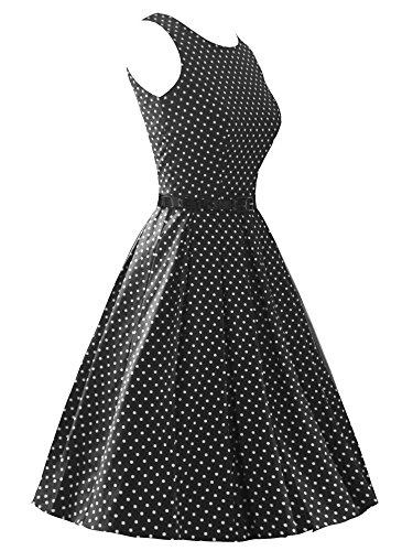 iLover 40s 50s 60s Rockabilly Solid Dress Vintage Pin-up Cocktail Soirée Balançoire BlackDots