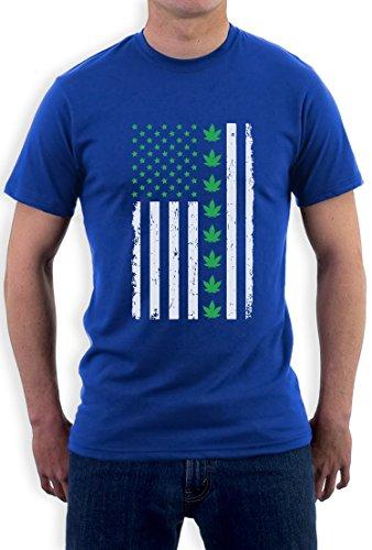 Präsentidee US Flagge mit Hanfblatt Motiv T-Shirt Blau