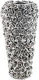 Vase Rose Multi Chrom Small, kleine, dekorative Blumenvasen, hohe moderne Bodenvase, silber (H/B/T) 36,5x17,5x17,5cm