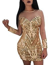 JackenLOVE Estivo Vestiti Donna Sexy Prospettiva Tulle Cucitura Vestito da  Partito Discoteca Club Moda Rotondo Collo 297514fd41b