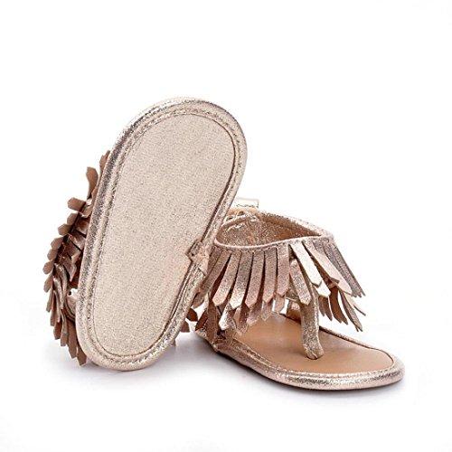 Chaussures de bébé,Fulltime® Bébés Enfants Fille Garçons Soft Sole Crib Toddler Newborn Tassels Sandales Chaussures Or