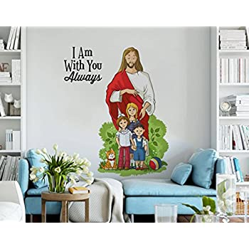 Rawpockets 'Lord Jesus with Kids and Quote' Wall Sticker (PVC Vinyl, 1 cm x 85 cm x 75 cm)