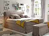 CARLSON Boxspringbett Hotelbett Bett amerikanisches Bett 7-Zonen-Tonnen-Taschenfederkernmatratze 180 x 200 cm Härtegrad 3 mit Visco-Topper beige, beige, mit Visco-Topper