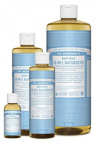 Lavendel Haut, Körper Zu Waschen (Dr. Bronner´s Naturseife Baby-mild (ohne Duft) 18-in-1 Magic Soap natürliche Flüssigseife aus biologischem Anbau, vegan, keine Zusatzstoffe, Fair Trade zertifizierte Bioseife (1x240ml))