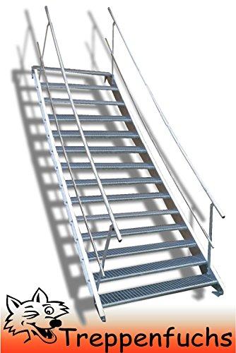 14 Stufen Stahltreppe mit beidseitigem Geländer / Breite 80 cm Geschosshöhe 210-280cm / Robuste Außentreppe / Wangentreppe / Stabile Industrietreppe für den Außenbereich / Inklusive Zubehör