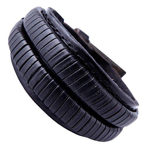 Elegantes Kohle-Schwarzes Manschetten echtes Leder-Armband für Männer (Metallschnalle Verschluss) (Schwarz Gerippte Stulpen)