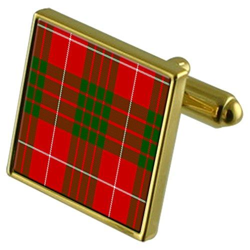 Crawford Muster (Select Gifts Tartan Clan Crawford Manschettenknöpfe in Gold graviert Personalisierte Fall)