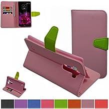 LG G Flex 2 Funda,Mama Mouth PU Cuero Billetera Cartera Monedero Con Soporte Funda Caso Case para LG G Flex 2 H955,Rosa