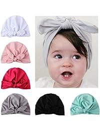 COUXILY Baby Hat 6 Unids Recién Nacido Elastico Stretch Head Wrap Infantil Turbante Niño Bebé Nudo Diadema
