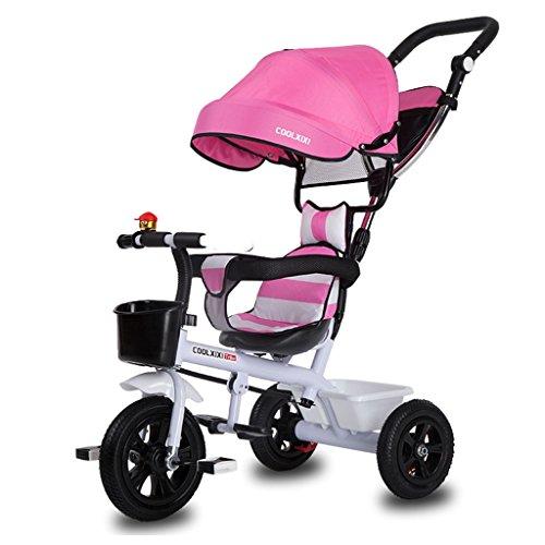 Preisvergleich Produktbild Luxus 4-in-1 Kind Dreirad Fahrrad Boy's Bike Mädchen Fahrrad für 6 Monate-6 Jahre alt Baby drei Räder Trolley mit Markise und Eltern Griff / Dämpfung / Gummirad / Vollkunststoff-Rad ( Farbe : Pink ,  größe : Ein Stil )