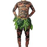 Maui Tattoo - Traje de Disfraz de Halloween, para Hombre, Mujer, con Falda de Hojas, marrón, Medium