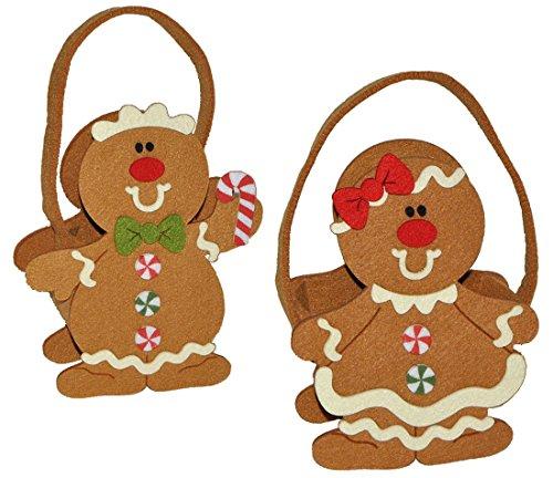 Unbekannt Filztasche / Geschenktasche / Aufbewahrungsbox - Pfefferkuchen - Pfefferkuchenfrau ODER Pfefferkuchenmann für Weihnachten - Lebkuchen / Lebkuchenmann / Lebkuc..