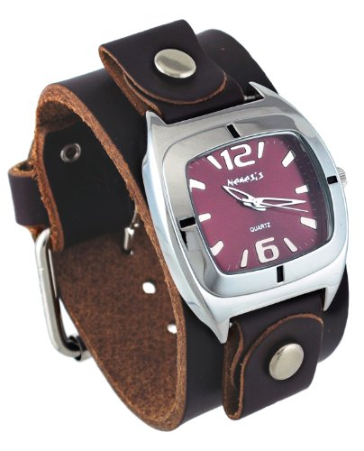Nemesis #DBGB090B Unisex Retro Collection Shorter Length Wide Leather Cuff Band Watch