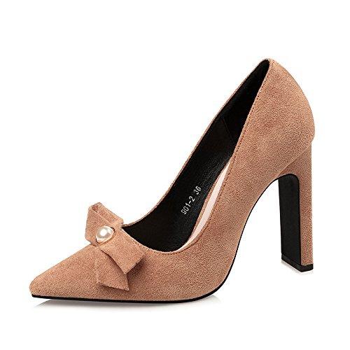 semplice moda bow Inverno tacchi alti europea testa moda alla D scarpe party ladys FLYRCX tie Autunno sexy qxE7Tw0n5p