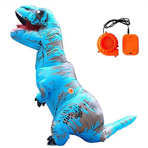 DMGF T-Rex Aufblasbare Kostüm Dinosaurier Anzug Halloween Weihnachten Thema Spielzeug Party Kleid Für Erwachsene,Blue