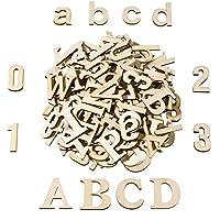 Satinior 124 Piezas Letra Mayúscula de Madera Totalmente Letras Minusculas de Madera Números de Madera para Manualidades Artesanías DIY Decoración Exposiciones