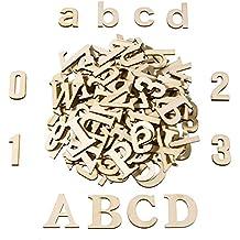 Satinior 124 Piezas Letra Mayúscula de Madera Totalmente Letras Minusculas de Madera Números de Madera para